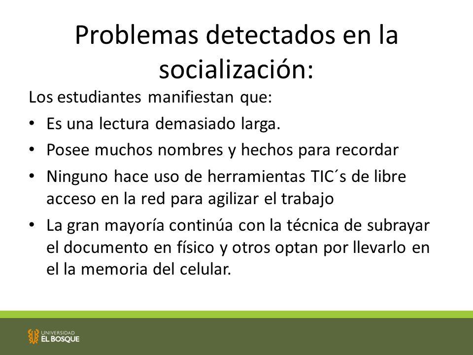 Problemas detectados en la socialización: Los estudiantes manifiestan que: Es una lectura demasiado larga.