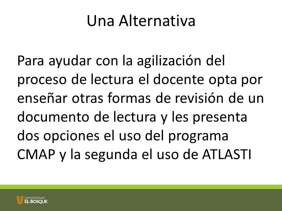 Una Alternativa Para ayudar con la agilización del proceso de lectura el docente opta por enseñar otras formas de revisión de un documento de lectura y les presenta dos opciones el uso del programa CMAP y la segunda el uso de ATLASTI