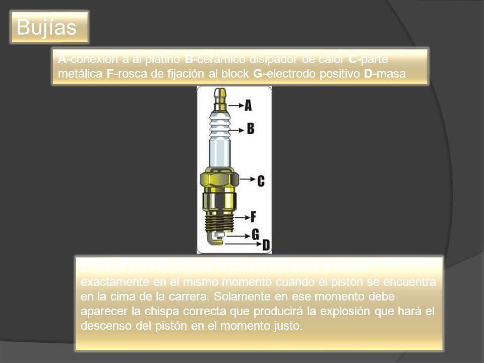 Bujías A-conexión a al platino B-cerámico disipador de calor C-parte metálica F-rosca de fijación al block G-electrodo positivo D-masa El punto justo es cuando el platino comienza a abrirse exactamente en el mismo momento cuando el pistón se encuentra en la cima de la carrera.