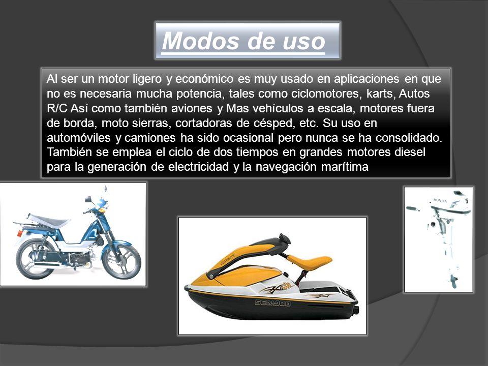 Al ser un motor ligero y económico es muy usado en aplicaciones en que no es necesaria mucha potencia, tales como ciclomotores, karts, Autos R/C Así c