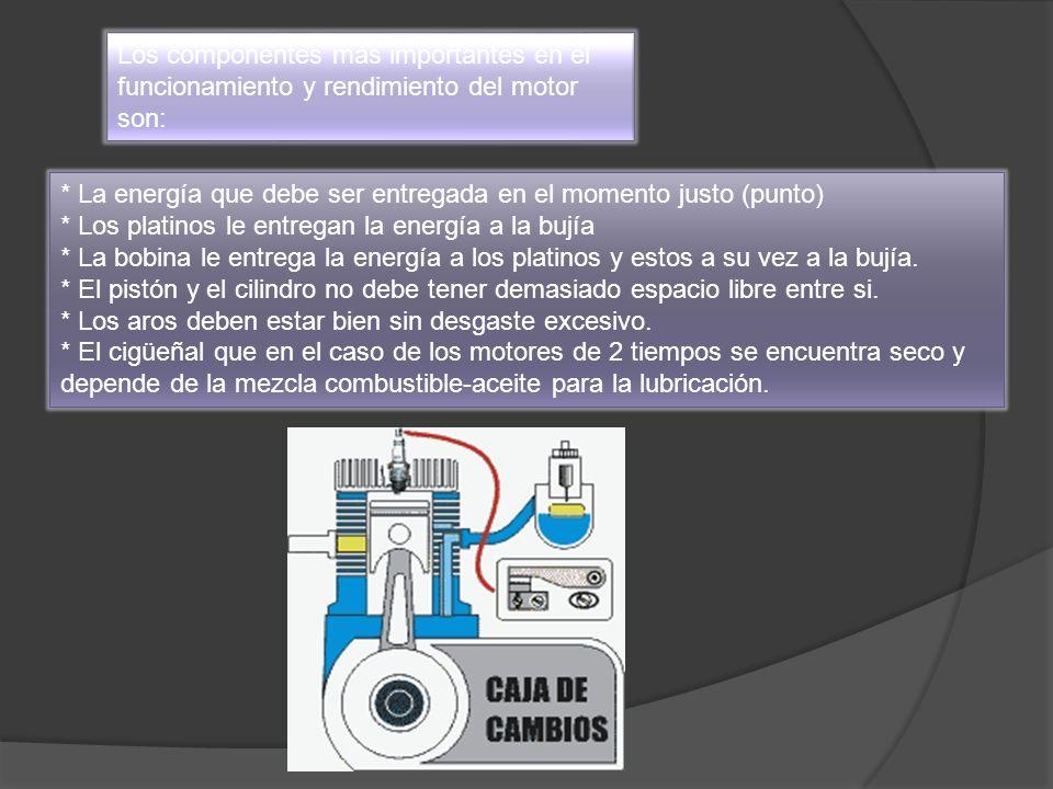 Los componentes más importantes en el funcionamiento y rendimiento del motor son: * La energía que debe ser entregada en el momento justo (punto) * Lo
