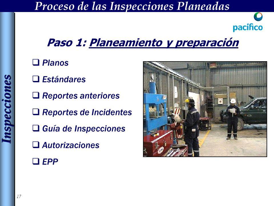 17 Paso 1: Planeamiento y preparación Planos Estándares Reportes anteriores Reportes de Incidentes Guía de Inspecciones Autorizaciones EPP InspeccionesInspecciones Proceso de las Inspecciones Planeadas
