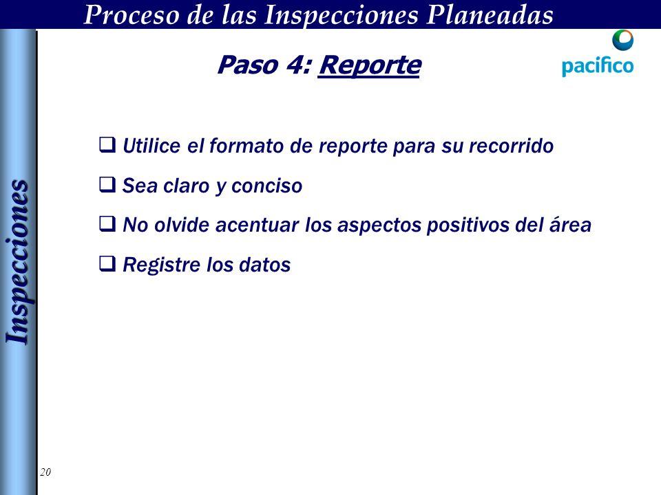 20 Paso 4: Reporte Utilice el formato de reporte para su recorrido Sea claro y conciso No olvide acentuar los aspectos positivos del área Registre los datos InspeccionesInspecciones Proceso de las Inspecciones Planeadas