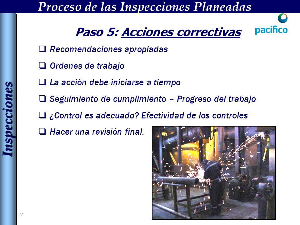 21 Paso 5: Acciones correctivas Recomendaciones apropiadas Ordenes de trabajo La acción debe iniciarse a tiempo Seguimiento de cumplimiento – Progreso del trabajo ¿Control es adecuado.