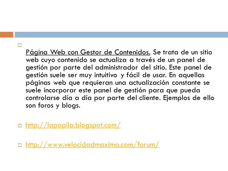 Página Web con Gestor de Contenidos.