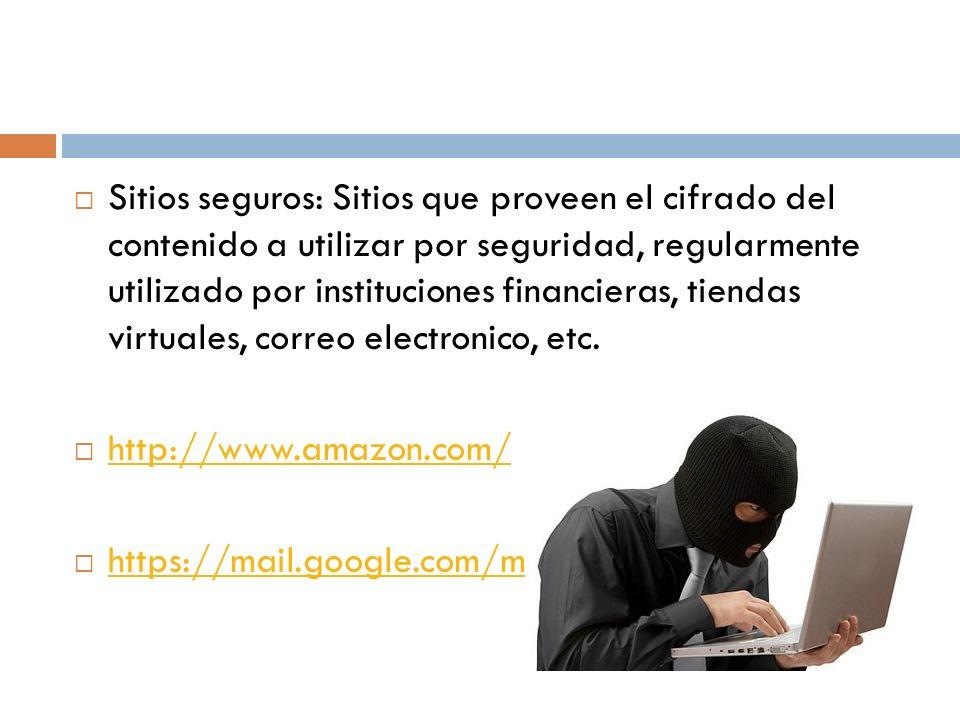 Sitios seguros: Sitios que proveen el cifrado del contenido a utilizar por seguridad, regularmente utilizado por instituciones financieras, tiendas virtuales, correo electronico, etc.