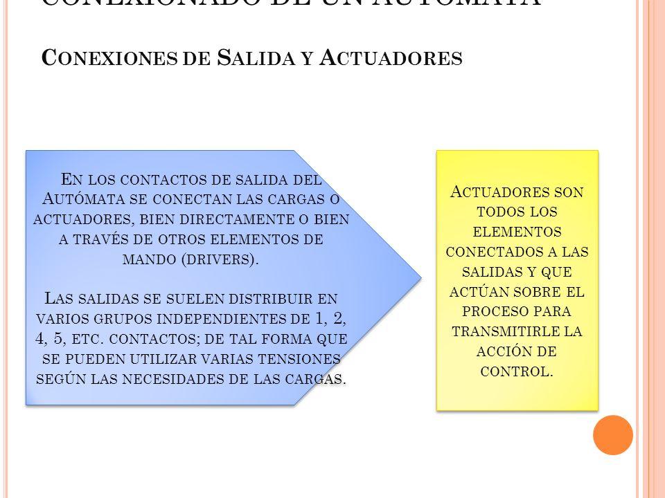 E N LOS CONTACTOS DE SALIDA DEL A UTÓMATA SE CONECTAN LAS CARGAS O ACTUADORES, BIEN DIRECTAMENTE O BIEN A TRAVÉS DE OTROS ELEMENTOS DE MANDO ( DRIVERS