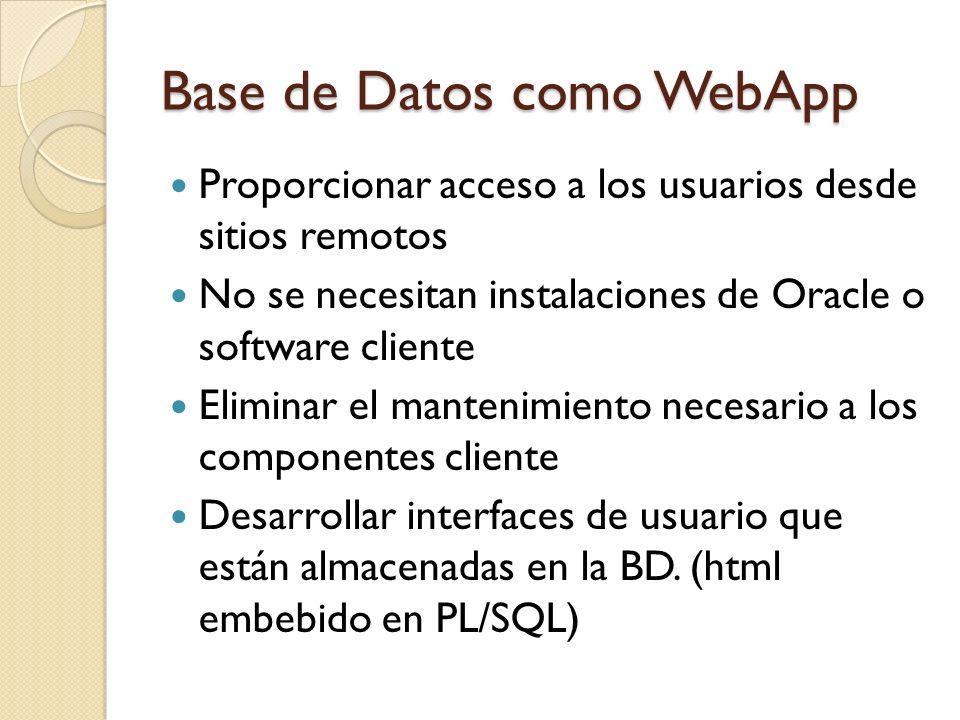 Base de Datos como WebApp Es necesario un software de tipo Servidor Web Los procedimientos creados en la BD deben utilizar paquetes y funciones adecuados para enviar la salida al navegador del cliente El cliente puede acceder a la aplicación a través de una dirección web