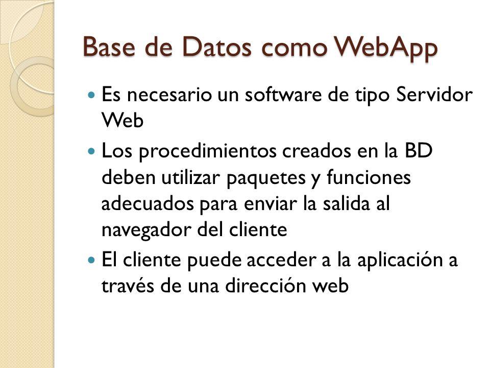 Base de Datos como WebApp Es necesario un software de tipo Servidor Web Los procedimientos creados en la BD deben utilizar paquetes y funciones adecua
