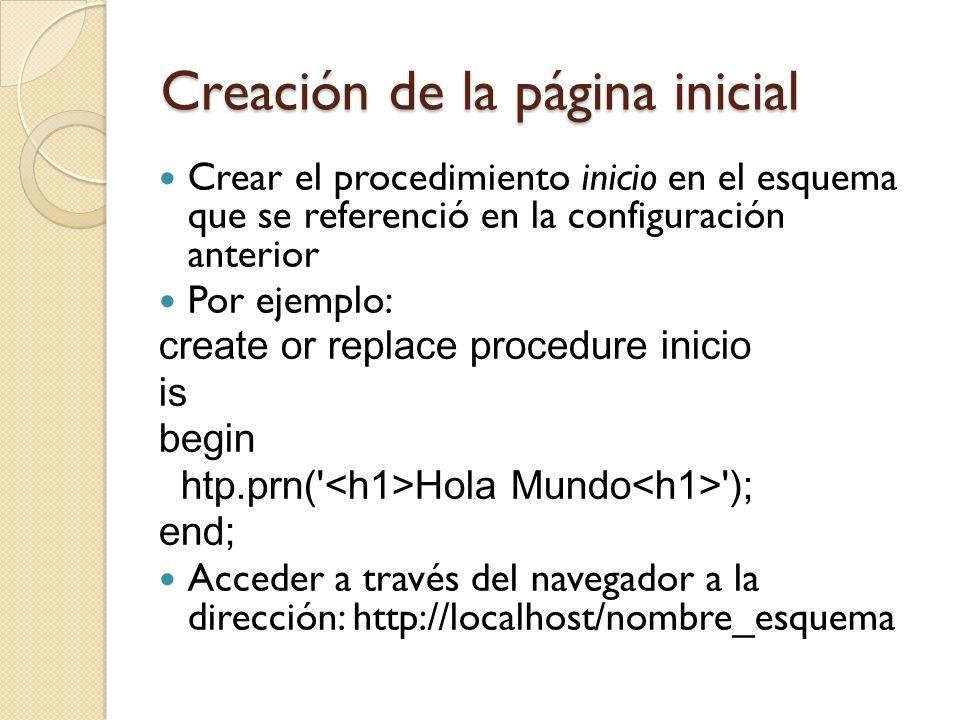 Creación de la página inicial Crear el procedimiento inicio en el esquema que se referenció en la configuración anterior Por ejemplo: create or replac