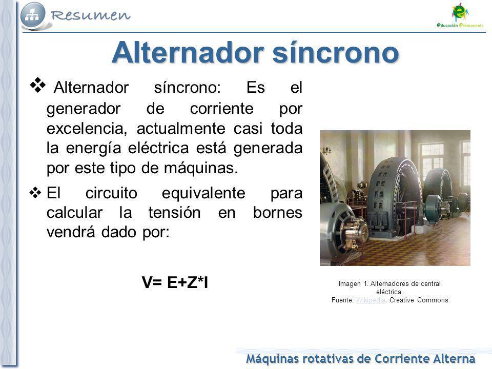 Máquinas rotativas de Corriente Alterna Alternador síncrono Alternador síncrono: Es el generador de corriente por excelencia, actualmente casi toda la