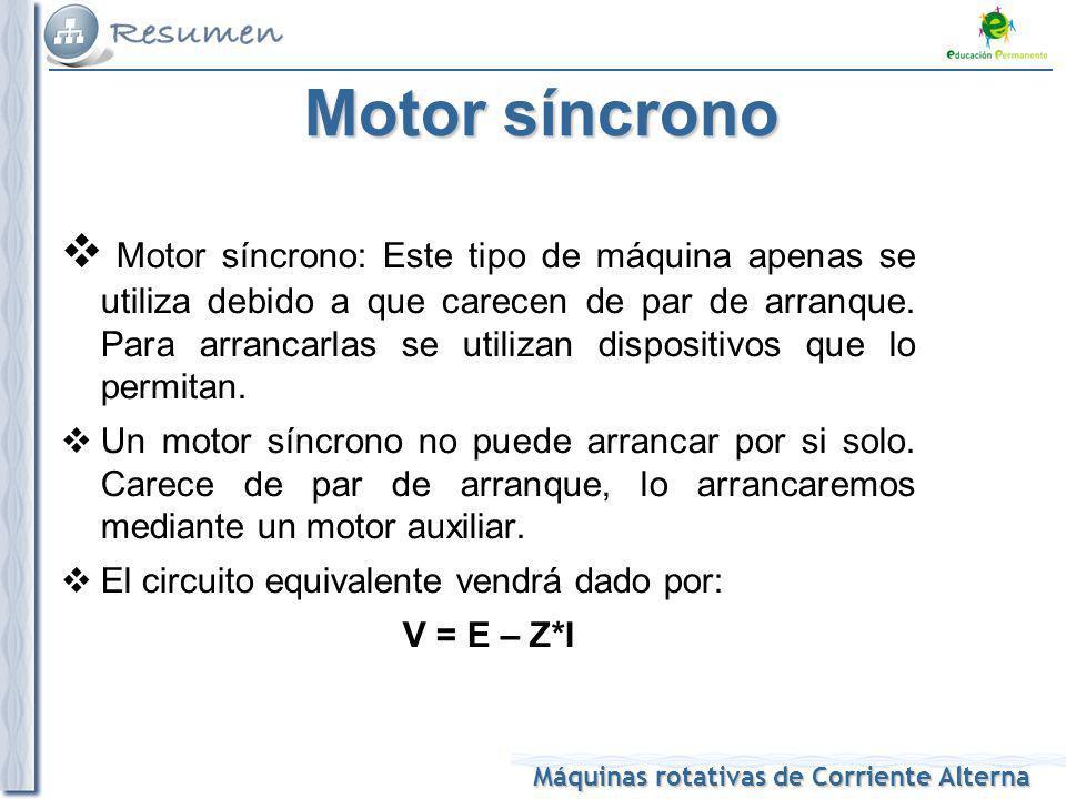 Máquinas rotativas de Corriente Alterna Motor síncrono Motor síncrono: Este tipo de máquina apenas se utiliza debido a que carecen de par de arranque.