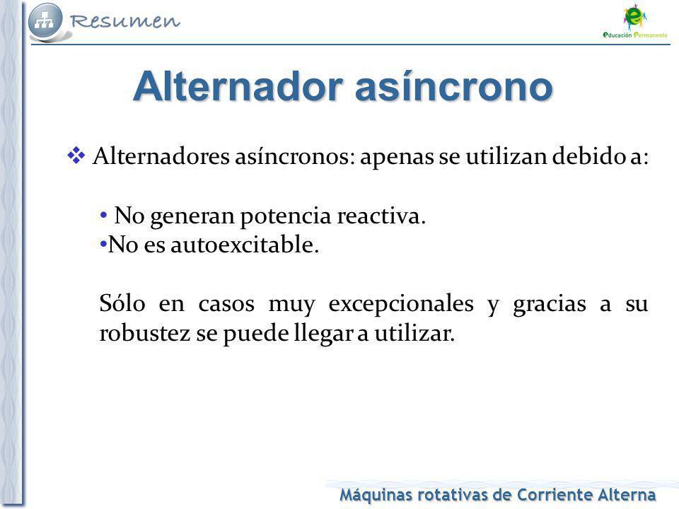 Máquinas rotativas de Corriente Alterna Alternador asíncrono Alternadores asíncronos: apenas se utilizan debido a: No generan potencia reactiva. No es