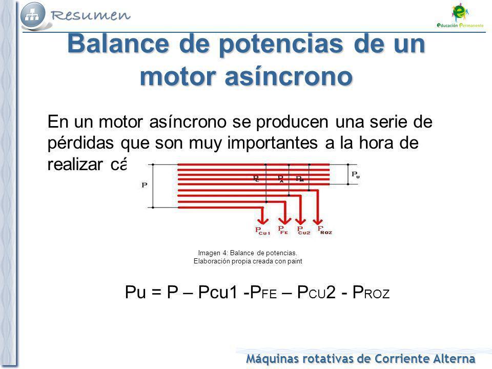 Máquinas rotativas de Corriente Alterna Balance de potencias de un motor asíncrono En un motor asíncrono se producen una serie de pérdidas que son muy