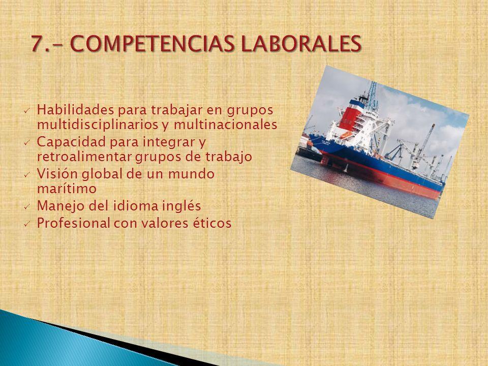 Habilidades para trabajar en grupos multidisciplinarios y multinacionales Capacidad para integrar y retroalimentar grupos de trabajo Visión global de
