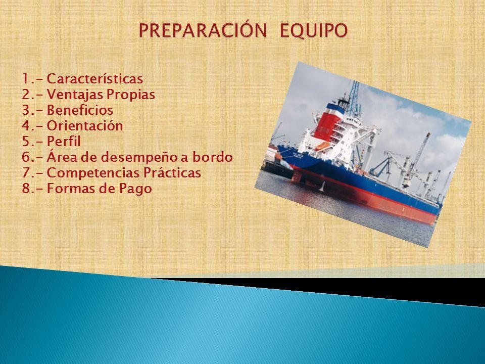 1.- Características 2.- Ventajas Propias 3.- Beneficios 4.- Orientación 5.- Perfil 6.- Área de desempeño a bordo 7.- Competencias Prácticas 8.- Formas