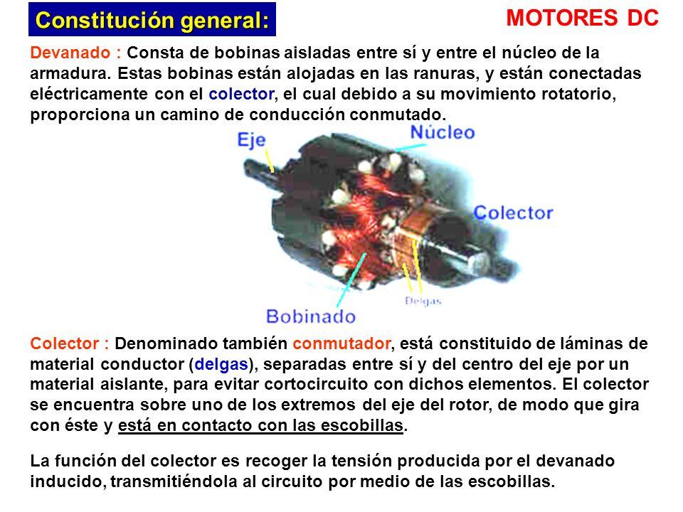 Devanado : Consta de bobinas aisladas entre sí y entre el núcleo de la armadura.