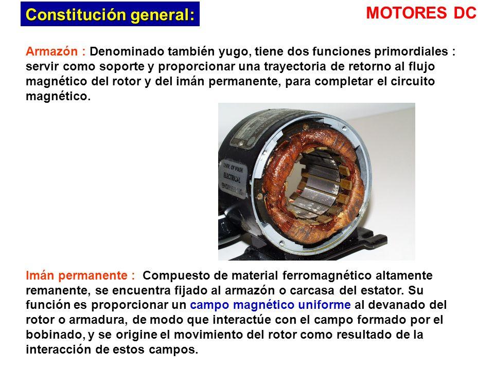 Armazón : Denominado también yugo, tiene dos funciones primordiales : servir como soporte y proporcionar una trayectoria de retorno al flujo magnético del rotor y del imán permanente, para completar el circuito magnético.