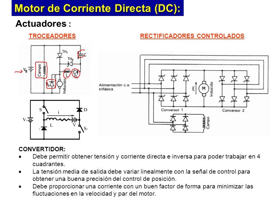 Actuadores : CONVERTIDOR: Debe permitir obtener tensión y corriente directa e inversa para poder trabajar en 4 cuadrantes.