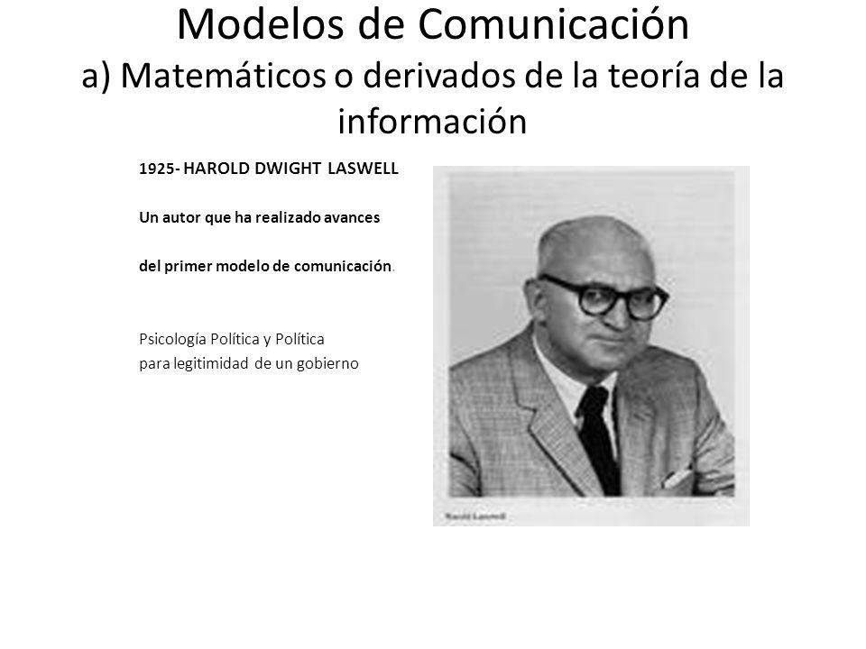 Modelos de Comunicación a) Matemáticos o derivados de la teoría de la información 1925- HAROLD DWIGHT LASWELL Un autor que ha realizado avances del pr
