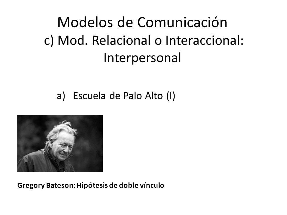 Modelos de Comunicación c) Mod. Relacional o Interaccional: Interpersonal a)Escuela de Palo Alto (I) GREGORY Bateson Gregory Bateson: Hipótesis de dob