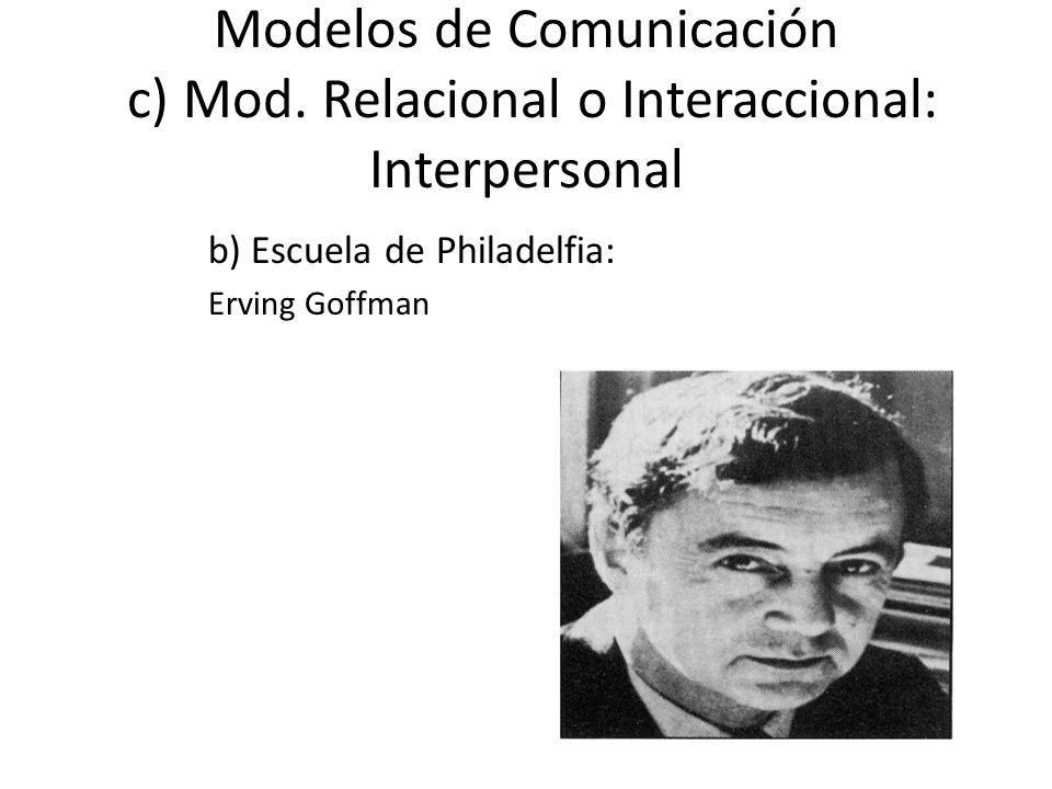 Modelos de Comunicación c) Mod. Relacional o Interaccional: Interpersonal b) Escuela de Philadelfia: Erving Goffman