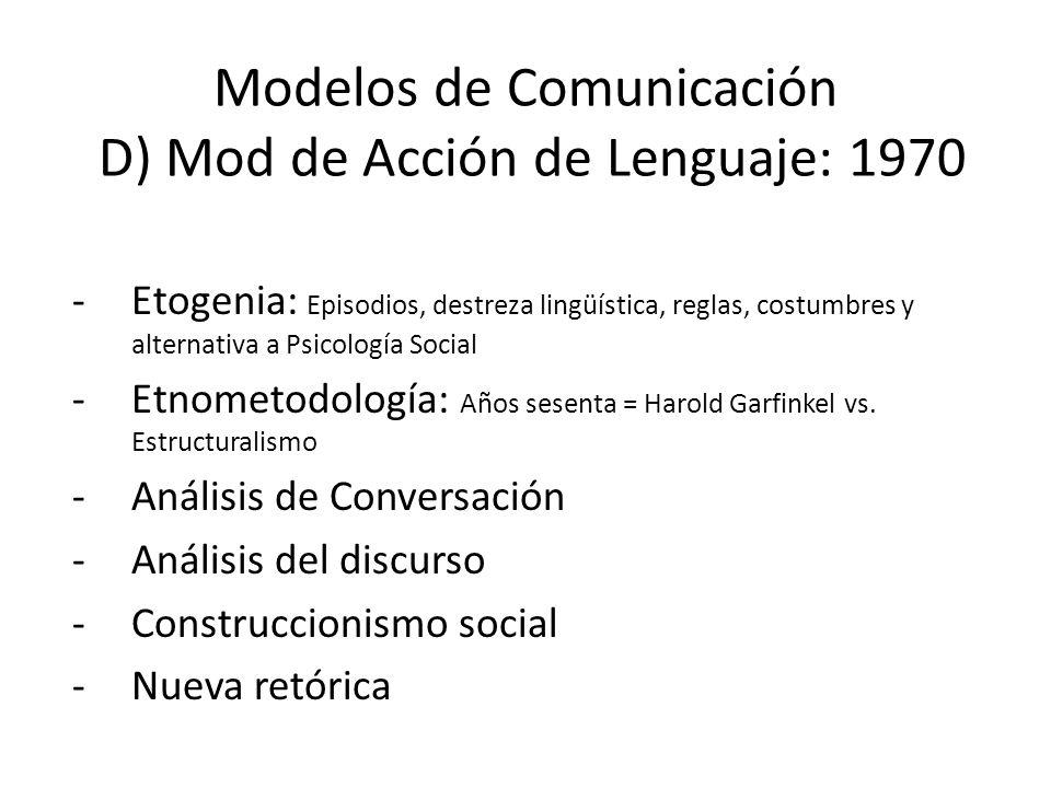Modelos de Comunicación D) Mod de Acción de Lenguaje: 1970 -Etogenia: Episodios, destreza lingüística, reglas, costumbres y alternativa a Psicología S