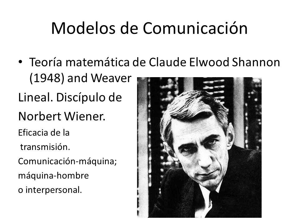 Modelos de Comunicación a) Matemáticos o derivados de la teoría de la información Modelo de Wilbur Schramm (1954) Comunicar significa compartir y participar en común: fuente-mensaje-destino Decodificador-codificador.