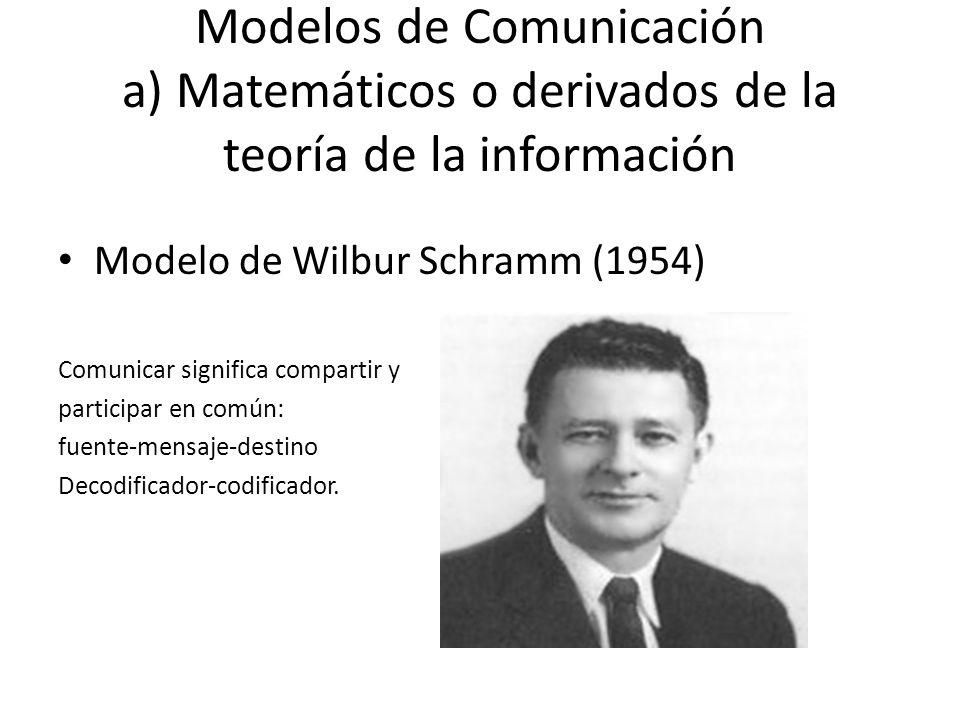 Modelos de Comunicación a) Matemáticos o derivados de la teoría de la información Modelo de Wilbur Schramm (1954) Comunicar significa compartir y part