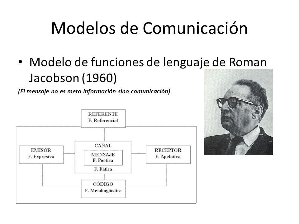 Modelos de Comunicación Modelo de funciones de lenguaje de Roman Jacobson (1960) (El mensaje no es mera información sino comunicación)