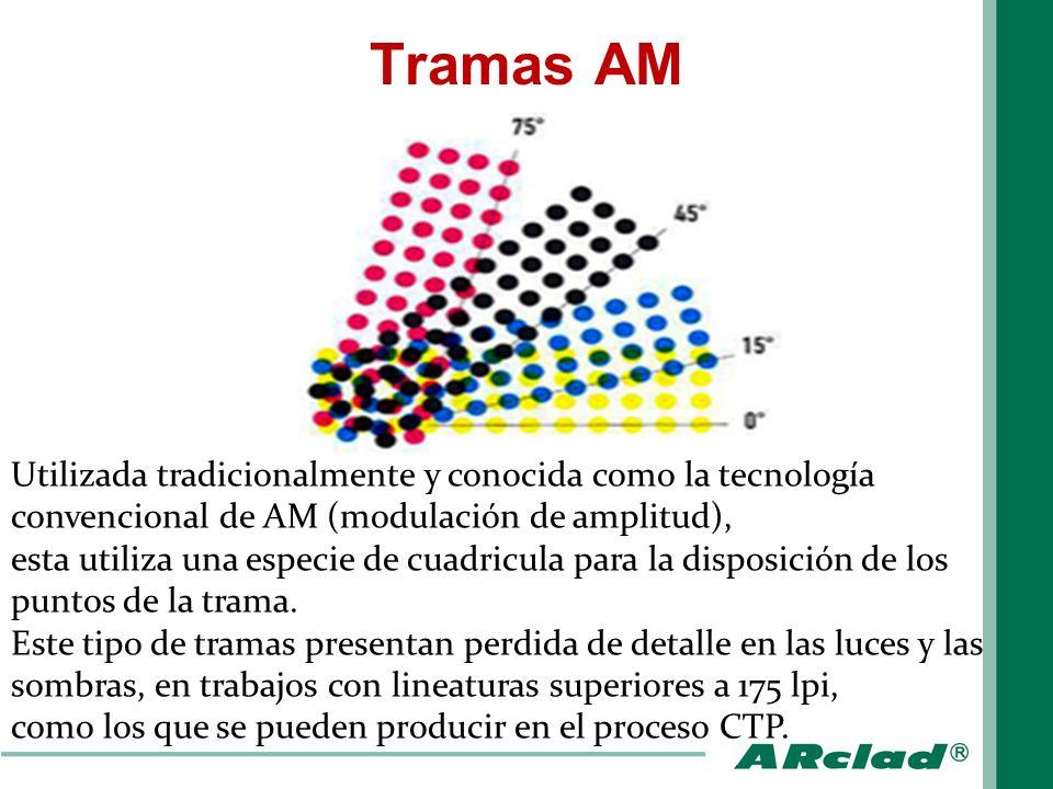 Tramas AM Utilizada tradicionalmente y conocida como la tecnología convencional de AM (modulación de amplitud), esta utiliza una especie de cuadricula
