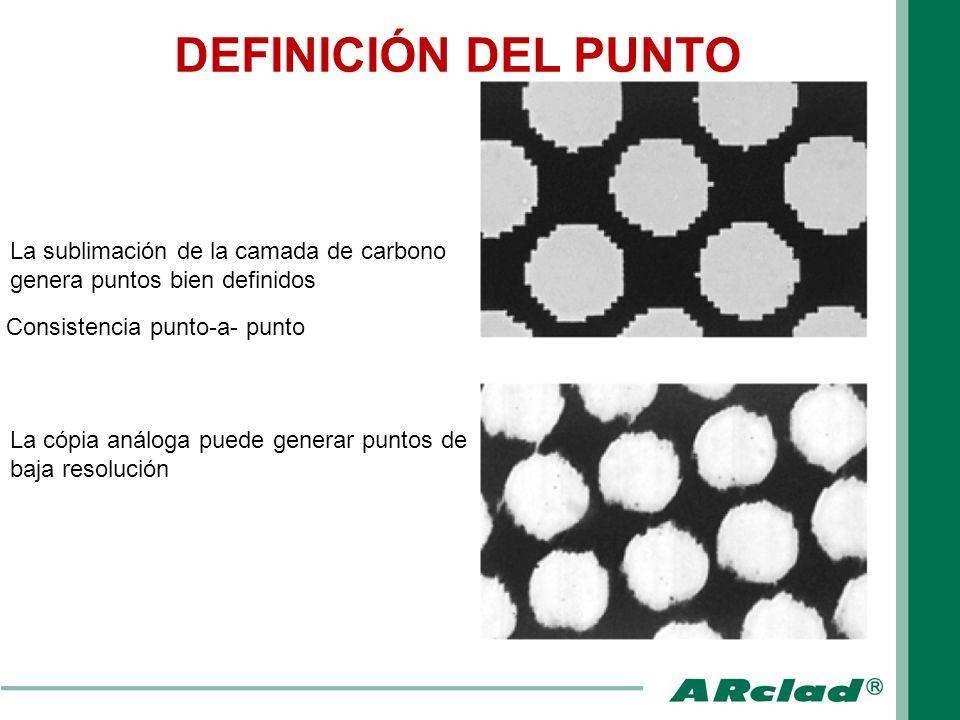 La sublimación de la camada de carbono genera puntos bien definidos Consistencia punto-a- punto La cópia análoga puede generar puntos de baja resoluci