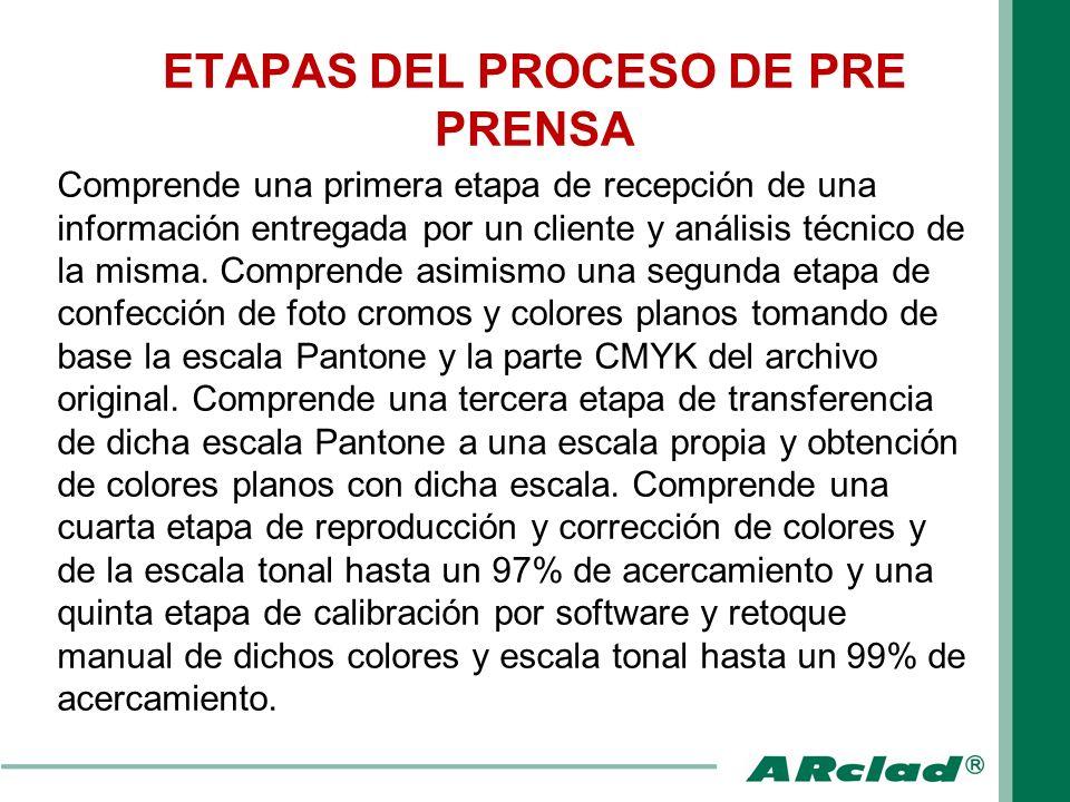 ETAPAS DEL PROCESO DE PRE PRENSA Por último comprende una sexta etapa de confección de las imágenes finales de grabado del cilindro de impresión y almacenado en un medio adecuado.