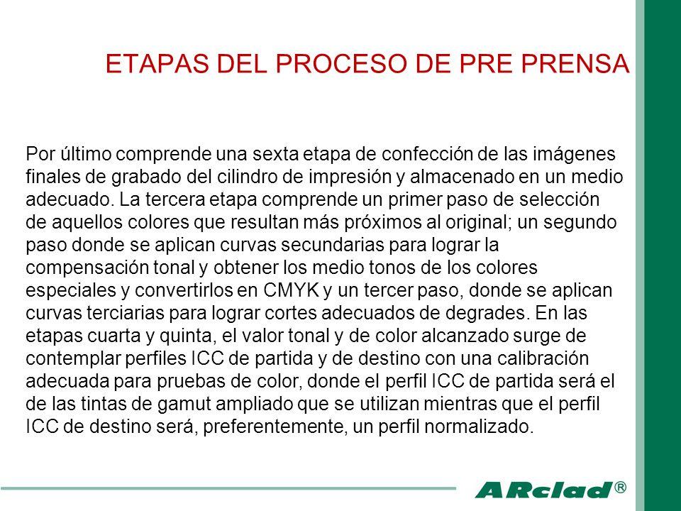 ETAPAS DEL PROCESO DE PRE PRENSA Por último comprende una sexta etapa de confección de las imágenes finales de grabado del cilindro de impresión y alm