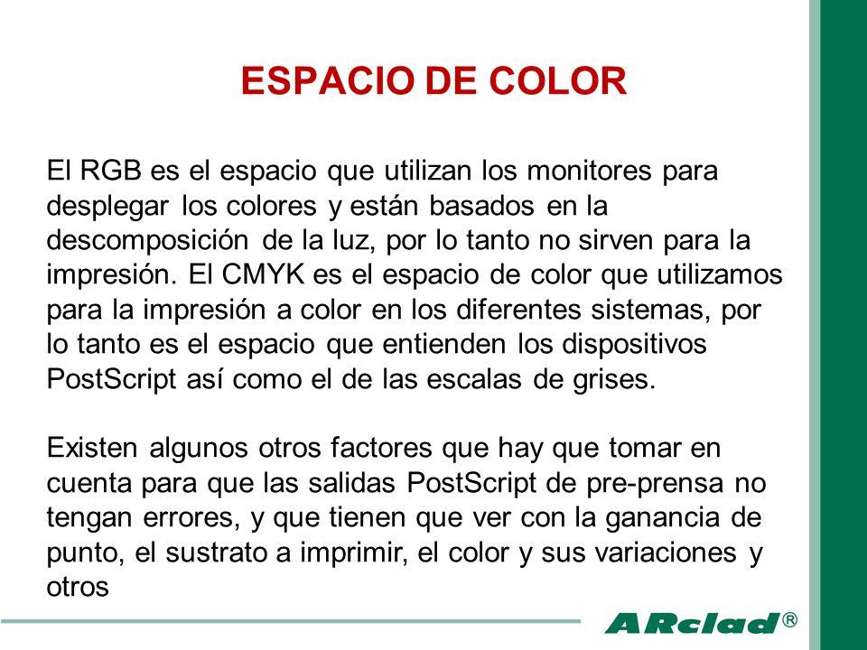 ESPACIO DE COLOR El RGB es el espacio que utilizan los monitores para desplegar los colores y están basados en la descomposición de la luz, por lo tan