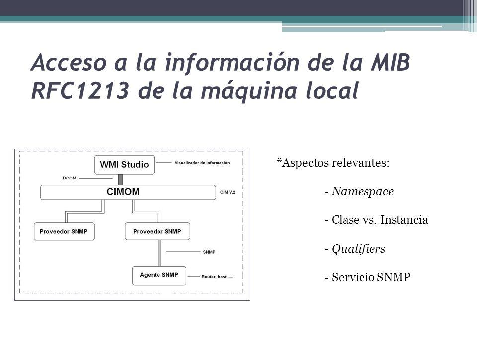 Acceso a la información de la MIB RFC1213 de la máquina local *Aspectos relevantes: - Namespace - Clase vs.