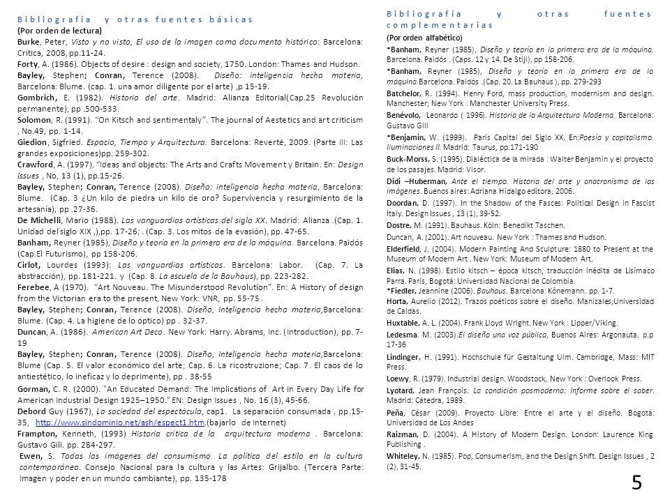 Bibliografía y otras fuentes básicas (Por orden de lectura) Burke, Peter, Visto y no visto, El uso de la imagen como documento histórico: Barcelona: Crítica, 2008, pp.11-24.
