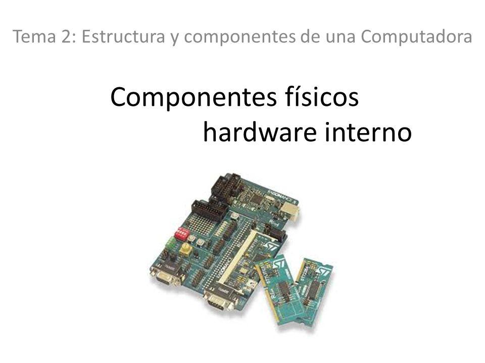 Componentes físicos hardware interno Tema 2: Estructura y componentes de una Computadora