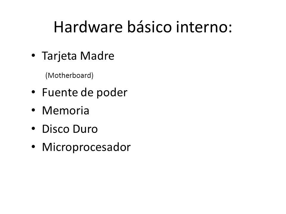 Hardware básico interno: Tarjeta Madre (Motherboard) Fuente de poder Memoria Disco Duro Microprocesador