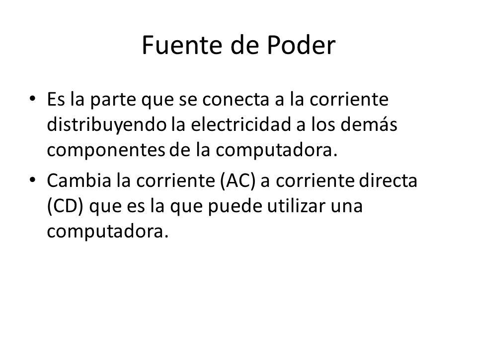 Fuente de Poder Es la parte que se conecta a la corriente distribuyendo la electricidad a los demás componentes de la computadora. Cambia la corriente