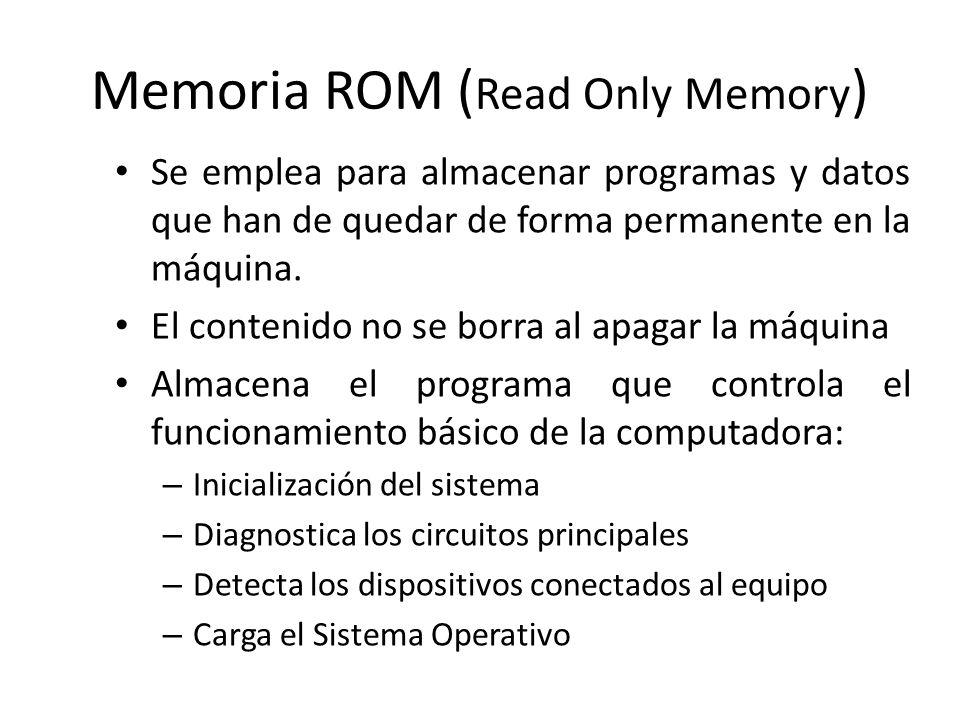 Memoria ROM ( Read Only Memory ) Se emplea para almacenar programas y datos que han de quedar de forma permanente en la máquina. El contenido no se bo
