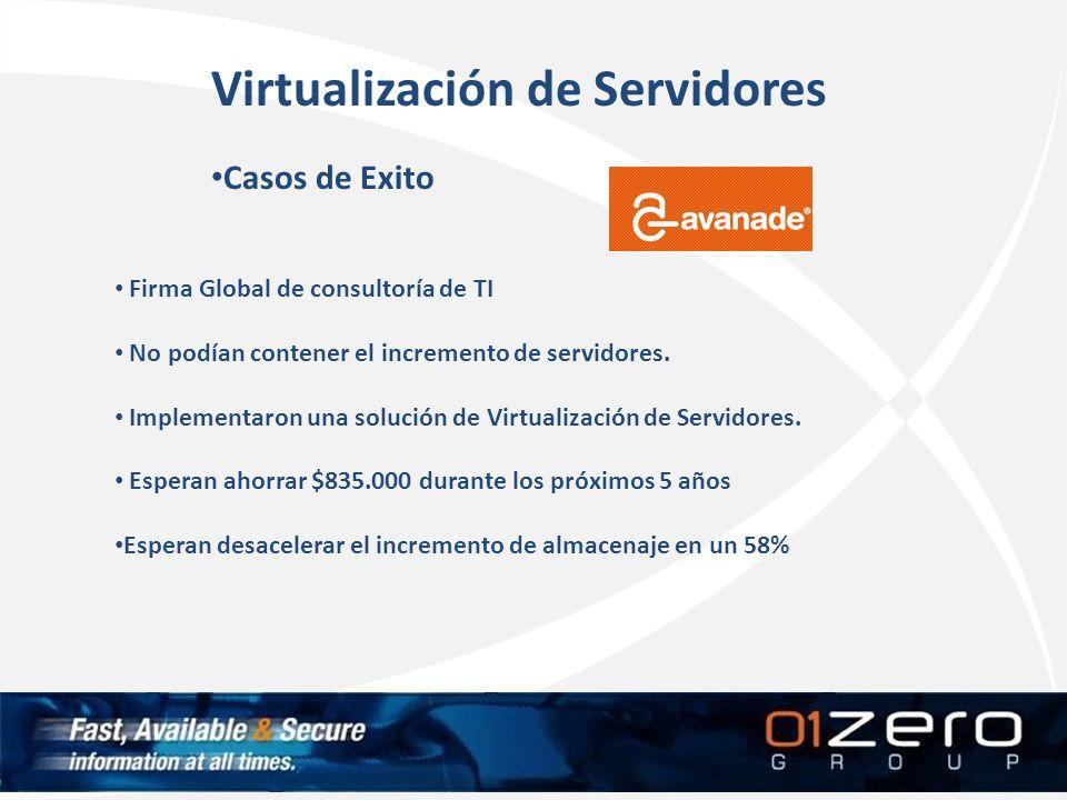Virtualización de Servidores Casos de Exito Firma Global de consultoría de TI No podían contener el incremento de servidores. Implementaron una soluci