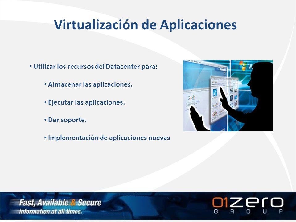 Virtualización de Aplicaciones Utilizar los recursos del Datacenter para: Almacenar las aplicaciones. Ejecutar las aplicaciones. Dar soporte. Implemen