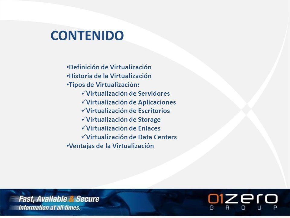CONTENIDO Definición de Virtualización Historia de la Virtualización Tipos de Virtualización: Virtualización de Servidores Virtualización de Aplicacio
