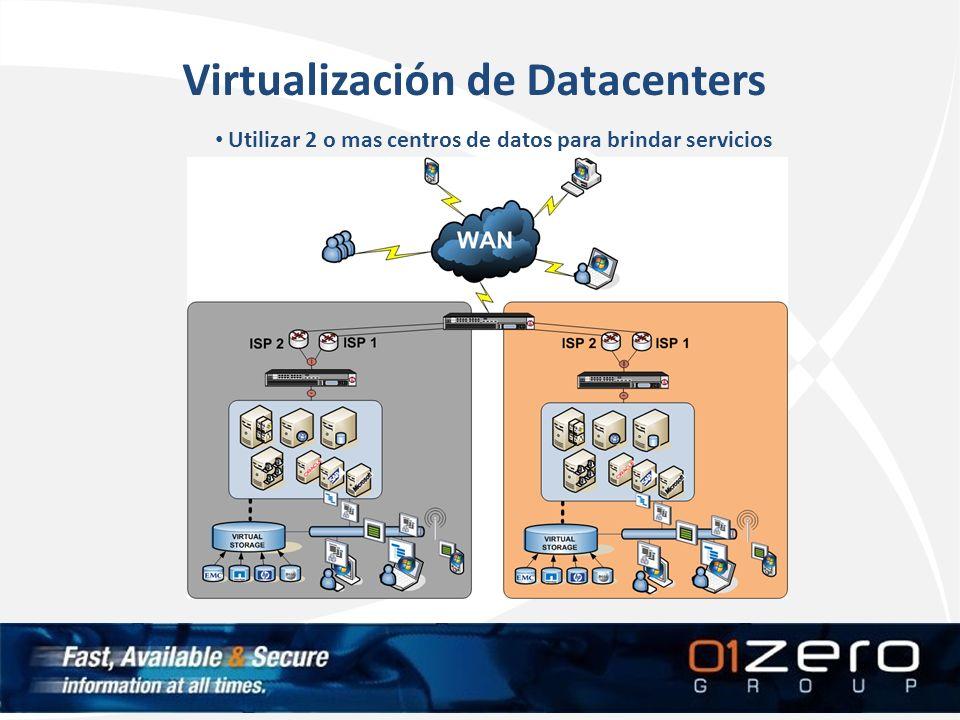 Virtualización de Datacenters Utilizar 2 o mas centros de datos para brindar servicios