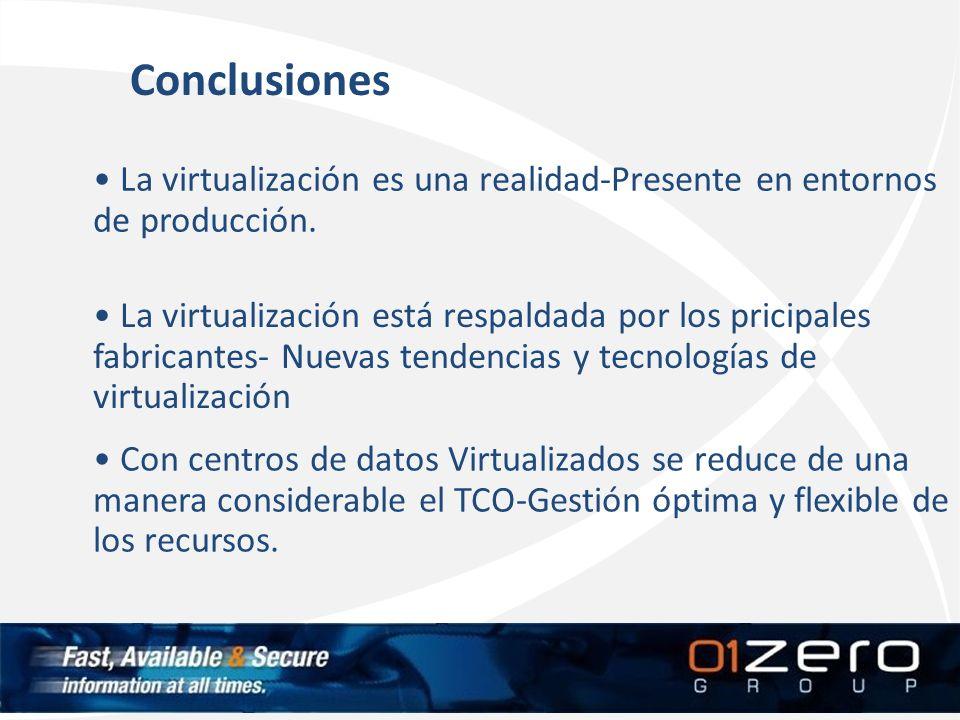 La virtualización es una realidad-Presente en entornos de producción. La virtualización está respaldada por los pricipales fabricantes- Nuevas tendenc