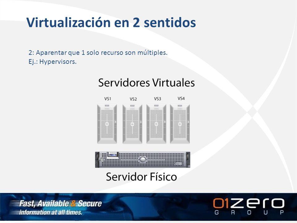 Virtualización en 2 sentidos 2: Aparentar que 1 solo recurso son múltiples. Ej.: Hypervisors.