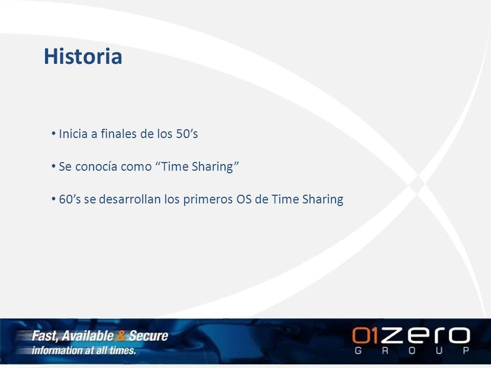 Historia Inicia a finales de los 50s Se conocía como Time Sharing 60s se desarrollan los primeros OS de Time Sharing