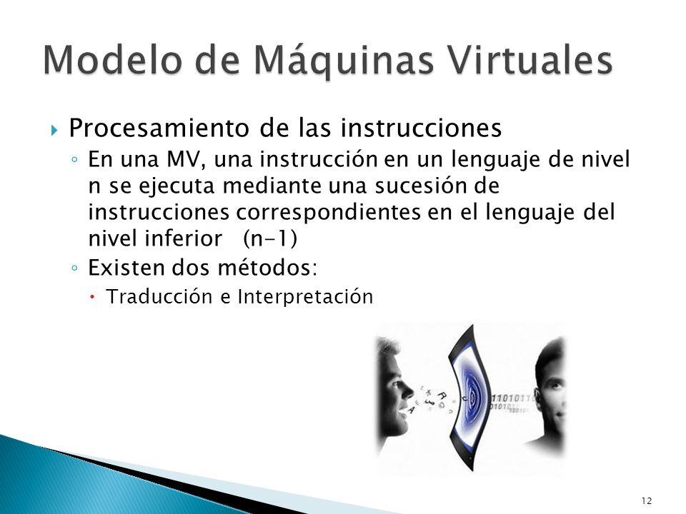 Procesamiento de las instrucciones En una MV, una instrucción en un lenguaje de nivel n se ejecuta mediante una sucesión de instrucciones correspondie