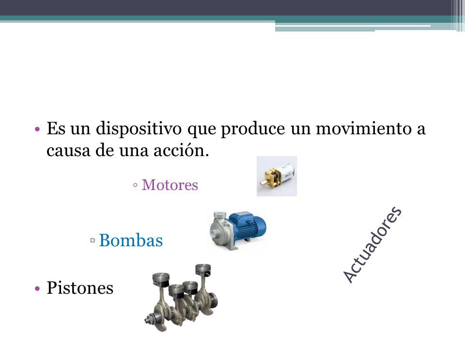 Actuadores Es un dispositivo que produce un movimiento a causa de una acción. Motores Bombas Pistones